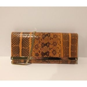 New Jimmy Choo Milla Snakeskin Clutch Crossbody